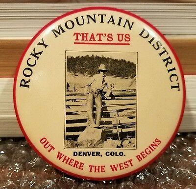 Vintage COWBOY, Rocky Mountain District Denver COLO Old West Advertising Mirror
