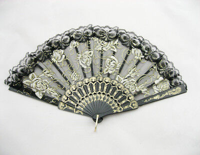 Folding Hand Held Fan with Lace Edging and Roses and Gold decoration Black