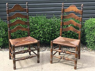 Antique Ladder Back Wood Accent Dining Rope Look Wooden Chairs