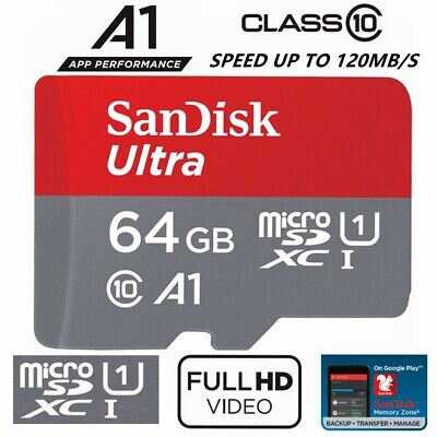 SanDisk Micro SD Card 64GB Ultra Class 10 SDXC Mobile Phone Camera A1 100Mb/s