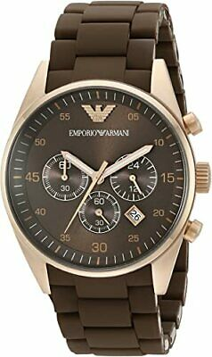 New Emporio Armani Sportivo AR5890 Brown Rose Gold Chronograph Men's Wrist Watch