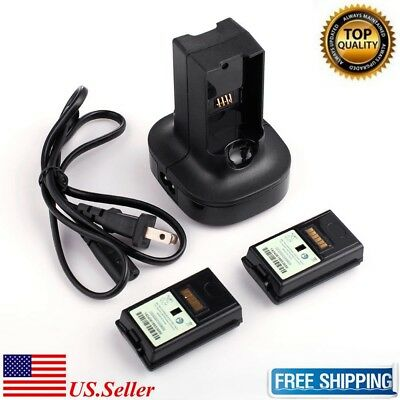 US Dual Charger Station Dock + 2pcs Rechargeable Battery for XBOX 360 Controller