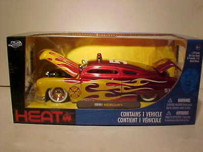 1951 Mercury Coupe Fire Department Die-cast Car 1:24 Jada Toys 8 inch Red Flames