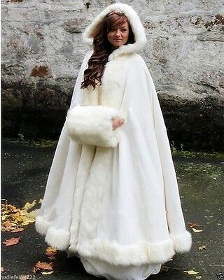 Long Bridal Cloak Faux fur Shawl White/ivory Cape Winter Hooded Wedding Coat