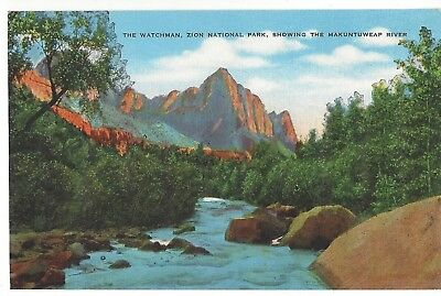 The Watchman, Makuntuweap River, Zion National Park, Utah, Unused Linen Postcard