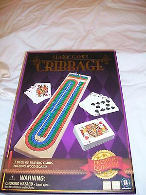 CRIBBAGE Game SET Ambassador WOOD BOARD with PLAYING CARDS Classic Family New