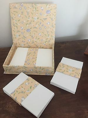 Vintage Laura Ashley Floribunda Apricot Writing Paper Box Gift Set Rare