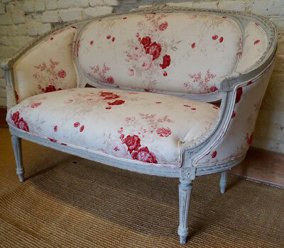 Stunning Antique French Louis XVI Corbeille Sofa in Kate Forman 'ROSES'