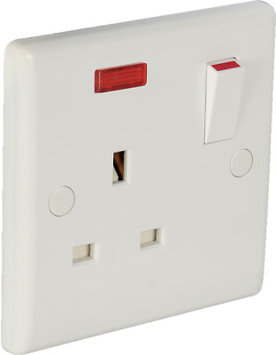 Single 13A switched socket with neon - White