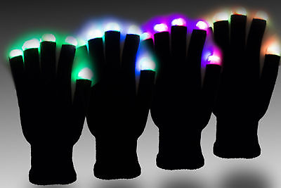 Pair of Black Light Up Gloves, LED Lights On Fingers, 7 Modes, Glowing Mittens