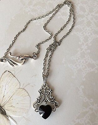 Antique Silver Black Crystal Heart Necklace, Vintage Victorian Gothic Style Gift