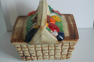 Vintage Cookie Jar Biscuit Container USA Pottery Fruit Picnic Basket
