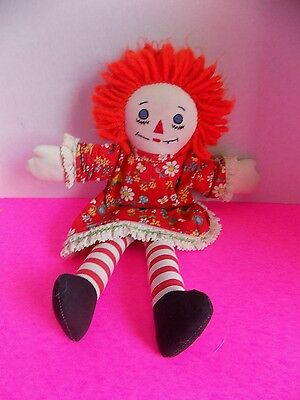Raggedy Anne Handmade Homemade Doll 11 Inches VIntage