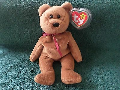 Mwmt Errors Ty Beanie Baby 1993 Teddy The Brown Bear Pvc Pellets Mint