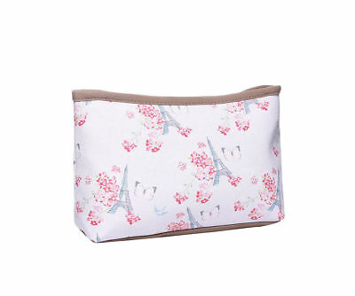Powder Pink Paris Butterfly Print Waterproof Make Up Bag / Pouch Pencil Case