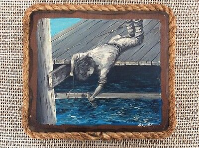 Cape Cod Boy Fishing Dock Mid Century Listed Framed Painting