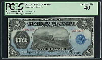 DC-21g $5 1912C BLUE SEAL DOMINION OF CANADA PCGS 40 XF++ CV $2,500+ WLM4405