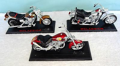 Lot of 3 CLASSIC Harley Davidson Die Cast Motorcycle on Stands