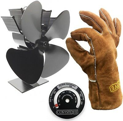 Heat Powered Stove Top Fan + Thermometer + Gloves - Log Wood Burner Cosystove®