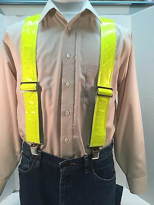 "New, Men's, ""Reflective"" Yellow, Large, 2"", Adj. Suspenders / Braces, Made n USA"