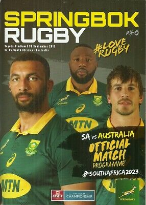 South Africa v Australia 2017 Rugby Championship Match Programme