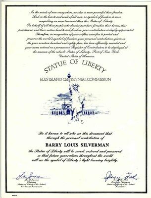 Statue of Liberty Ellis Island Centennial Commission Certificate Iacocca Ford