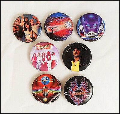Journey Lot Of 7 80's Buttons Departure / Evolution / Infinity / Raised On Radio