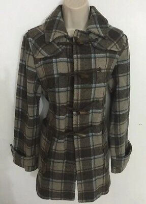Gap Women's Small Toggle Wool Plaid Winter Coat Jacket Peacoat  Brown Beige Warm