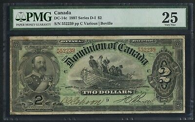 #DC-14c $2 1897 SERIES D-I DOMINION OF CANADA PMG 25 VF CV $2,250++ WLM4416