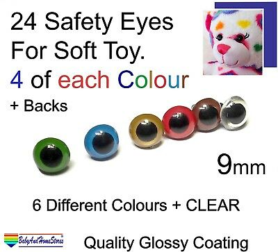 24 Safety Eyes For Teddy Bear Toy Making Supplies 9 mm (5 colours +Clear) Glossy