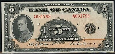 "Canada #bc-5 $5 1935 Series ""english"" Bank Of Canada -- Au -- Wlm4424"