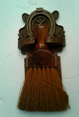 Vintage Carved Wood & Resin Ornawood Horse scene Brush Wall Plaque Sconce