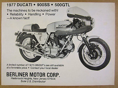 1977 Ducati 900SS 900 SS Motorcycle photo vintage print Ad