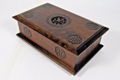 Breton Jewelry Box: Swiss Lador French Carved Wood Brittany Trinket Music Box