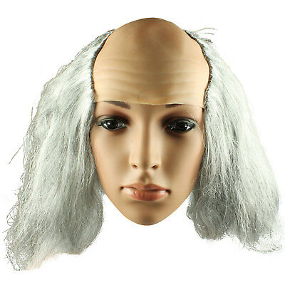 Halloween Mad Professor Grey Wig Mad Scientist Doc Brown Crazy Bald Spot Wig