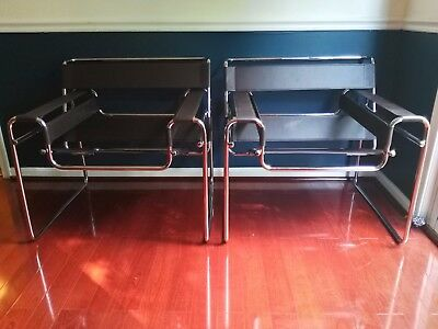 Wassily Chair(2) - Mid century style lounge chair - Breuer/knoll -Leather Chrome
