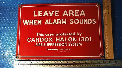 Porcelain Fire Safety Sign Leave Area When Alarm Sounds Cardox Halon 1301