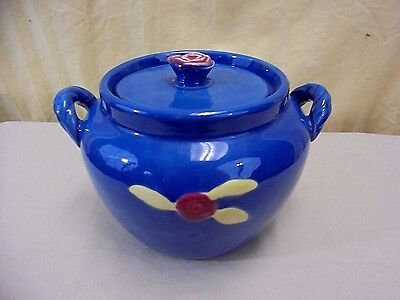 RARE Coors Beer Pottery Red Rosebud Blue Utility Cookie Jar Handled Covered Pot