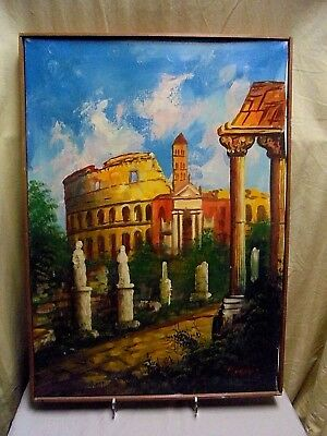 Vintage Signed Original Baroni Rome Colosseum Italy Canvas Oil Painting 20 x28