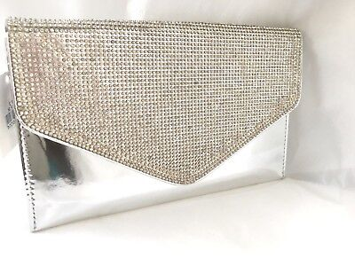 New Champagne Rose Gold Satin Diamante Evening Clutch Bag Party Club Wedding