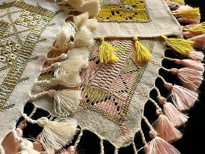 STUNNING Antique Linen 8 Cocktail Napkins Fringed HAND EMBROIDERY ~OTTOMAN~