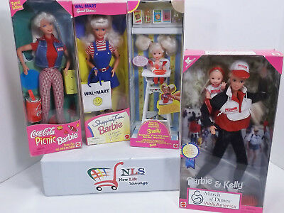Lot of 4 NEW Barbies Coca Cola, Eatin' Fun, Shopping Time, & Barbie and Kelly