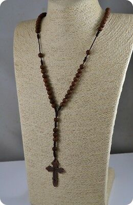Brown Rosary Beads Orthodox Cross Alloy Pendant Necklace  Religious jewelry