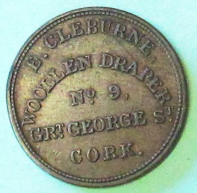 Ireland:  Unofficial Farthing. E. Cleburn No.9 Grt George St Cork