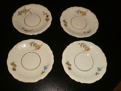 Antique KPM German 4  saucers with roses