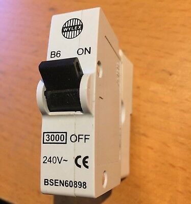 6 Amp Mcb Wylex - Type B Bs3871 Plug In Breaker Replaces Rewireable Fuse 6amp B6