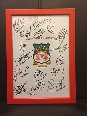 Wrexham FC NEW 2017/18 Hand Signed Framed A4 Autograph Sheet,Wales.