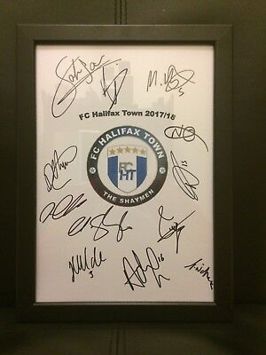 FC Halifax Town NEW 2017/18 Hand Signed Framed A4 Autograph Sheet