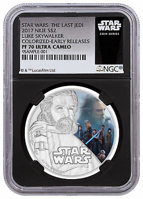 2017 Niue Star Wars Last Jedi Skywalker 1oz Silver NGC PF70 UC ER Black SKU49211