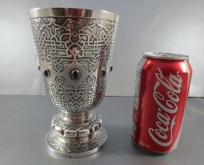 Interesting Large French Goblet With Stones. First Standard .950 Circa 1880 Rare